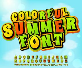 Colorful summer comic font. Comics, pop art