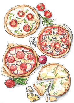 Collection of different pizza