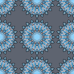 Round mandala seamless pattern. Arabic, Indian, Islamic, Ottoman ornament. Grey and blue floral pattern, motif. Vector illustration.