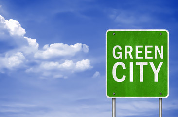 Green City - road sign concept