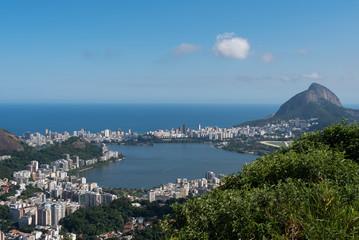 Rodrigo de Freitas Lagoon and Atlantic Ocean in the Horizon, Rio de Janeiro, Brazil