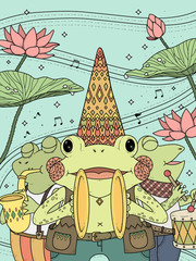 frogs music band adult coloring page
