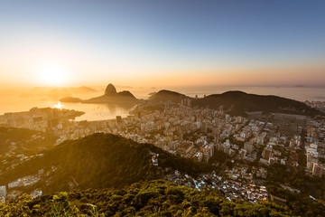 Golden Sunrise in Rio de Janeiro with Sugarloaf Mountain in the Horizon