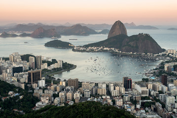 Wall Mural - Sugarloaf Mountain and Rio de Janeiro City View in Evening Sun Light