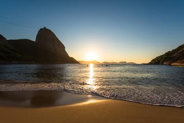 Wall Mural - Beautiful Sunrise in the Red Beach (Praia Vermelha) with the Sugarloaf Mountain, Rio de Janeiro, Brazil