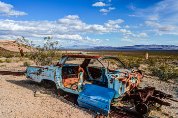 Broken car in Death Valley