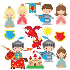 Knight, princess and dragon vector illustration