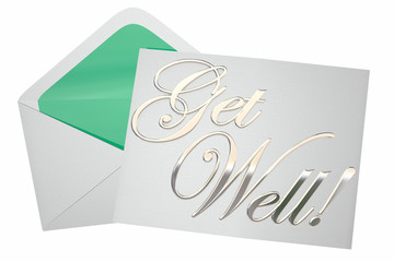 Get Well Soon Wishes Card Note Letter Envelope 3d Illustration