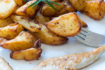 Roast potatoes with meat