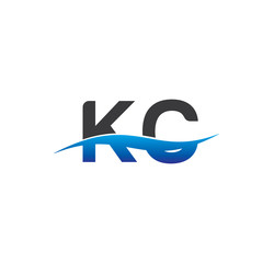 kc initial logo with swoosh blue and grey
