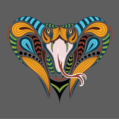 Patterned colored head of the King Cobra. African, indian tattoo design. It may be used for design of a t-shirt, bag, postcard and poster.