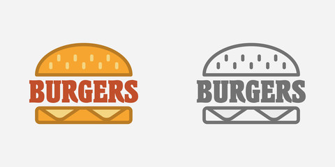Hamburger, fast food sign, badge or logo template. Burger symbol. Monochrome and color