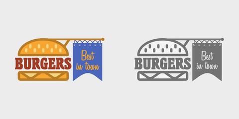Hamburger icon. Fast food sign. Burger symbol, badge or logo template.