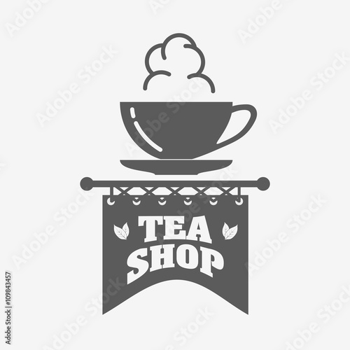 Tea shop logo badge or label design template with tea cup stock tea shop logo badge or label design template with tea cup maxwellsz