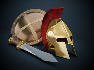 Ancient Greek helmet, shield and sword