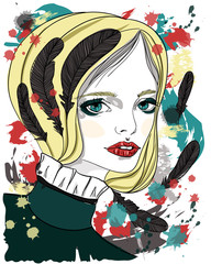 Portrait of beautiful girl with black feathers in her hair. Fashion illustration on abstract background. Print for T-shirt