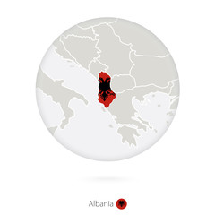 Map of Albania and national flag in a circle.