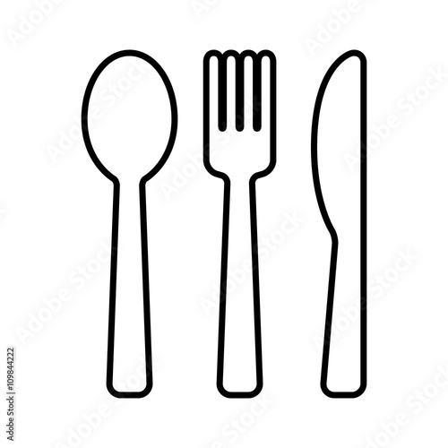 Line Drawing Knife And Fork : Quot dining silverware line art icon with spoon knife and