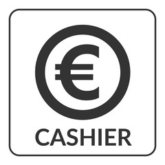Cashier icon with euro sign for shop, store, bank, supermarket etc. Gray circle symbol cash isolated on white background. Stylized coin. Flat design concept of service. Stock vector illustration