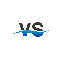 vs initial logo with swoosh blue and grey