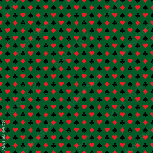 Vector seamless casino pattern illustration with playing