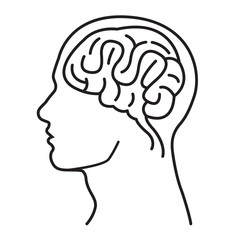 Men Brain Head Illustration / Men Brain Head Outline Draw Illustration