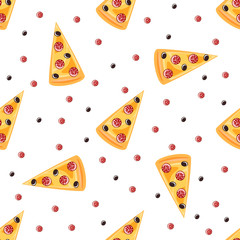 pizza seamless pattern, vector background