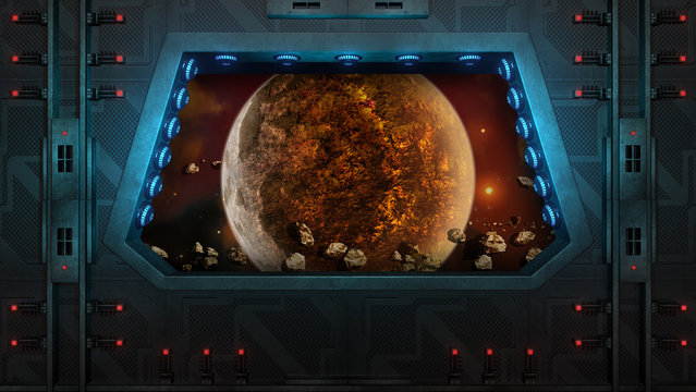 Spaceship Window. Red planet and asteroids.
