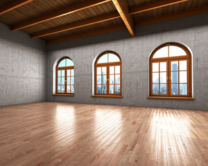 Wall Mural - Large spacious room with concrete walls and large windows. 3d il