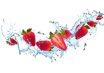 Printed roller blinds Splashing water Water splash with fruits isolated on white background. Fresh strawberry