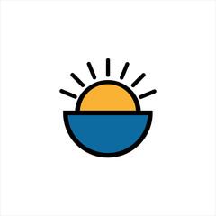 Sunset travel logo icon