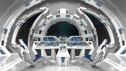 Spaceship. Command room. White interior.