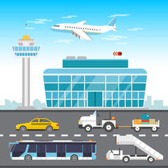 Airport infographic elements vector flat design illustration.