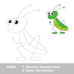 Cute grasshopper to be traced. Vector trace game.