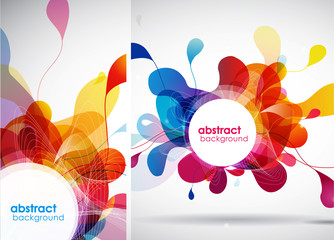 Set of abstract colored backgrounds with leafs.