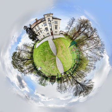 Spherical panorama of park in Przyszowice in a form of little planet.