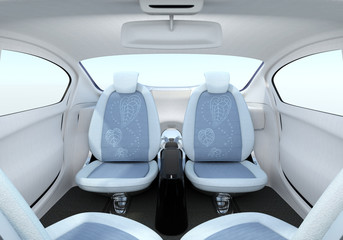 Botanical pattern texture in the passenger seats. 3D rendering image with clipping path.