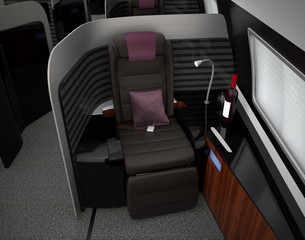 Luxurious business class interior. 3D rendering image in original design.