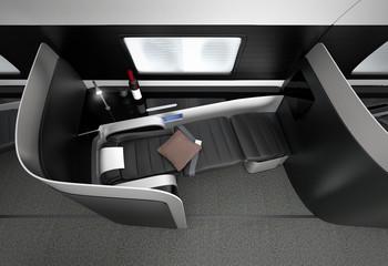 Luxurious business class interior. 3D rendering image in original design.
