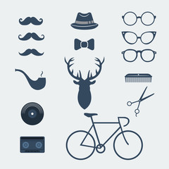 Hipster icon set collection. Vector illustration.