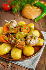 Slow-cooked stew with tender lamb meat, potatoes and vegetables