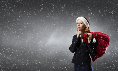Thoughtful Santa woman
