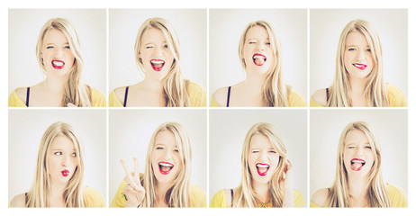 Set of girl's portraits with different emotions