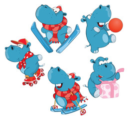 Set of Cartoon Illustration Cute Hippo for you Design Cartoon Character