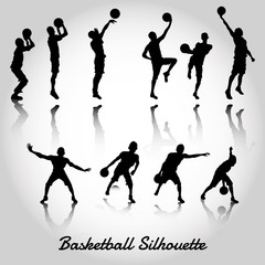 Attack and deffense basketbal silhouette