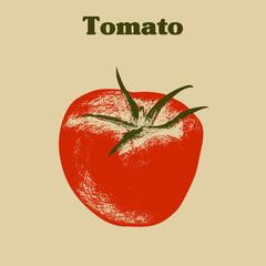 Vintage vector hand drawn grunge tomato.