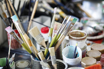 Painters Brushes on a studio