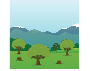 Forest view with trees and mountains - flat design