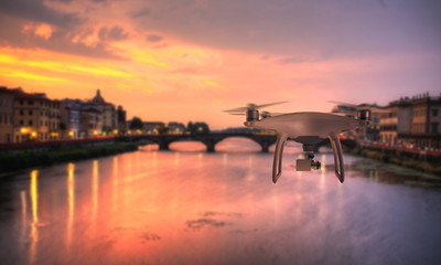 Drone quad copter photographs and records Florence bridge.