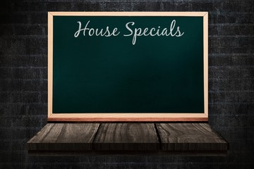 Composite image of house specials message
